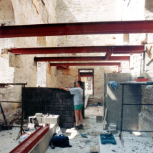 Block work on the entrance porch of the brewery